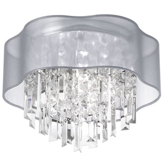 Dainolite 4-light Crystal Polished Chrome Flush Mount Fixture in Silver Laminated Organza Shade