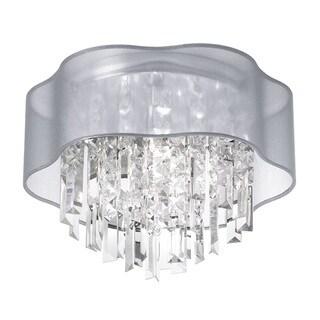 Dainolite 3-light Crystal Polished Chrome Flush Mount Fixture in Silver Laminated Organza Shade