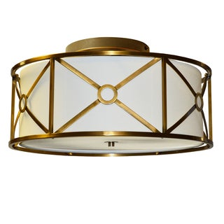 Dainolite 4-light Steel & Fabric Flush Mount Fixture in Vintage Bronze Finish
