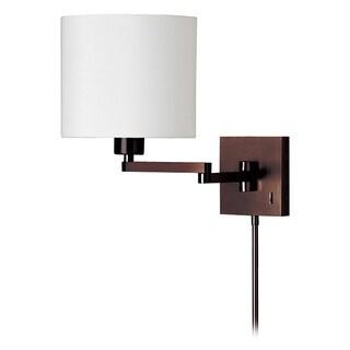 Dainolite 1-light Cast Metal Swing Arm Lamp in White Tapered Drum Shade