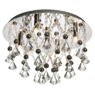 Dainolite 5-light Crystal Flush Mount Fixture in Polished Chrome Finish
