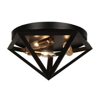 Dainolite 3-light Flush Mount Fixture in Matte Black with Antique Brass Accents