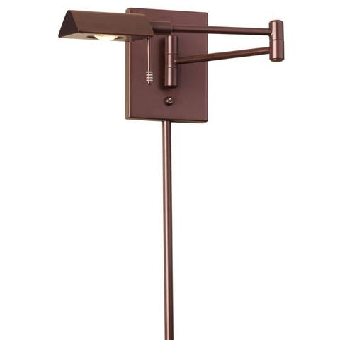 Dainolite LED Swing Arm Wall Lamp with Cord Cover in Oil Brushed Bronze Finish