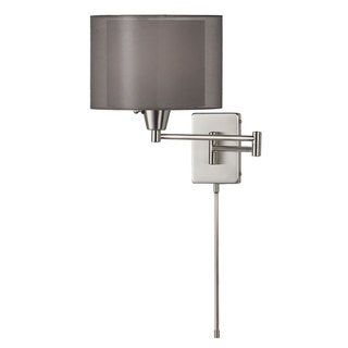 Dainolite Swing Arm Wall Lamp in Satin Chrome in Black on White Shade