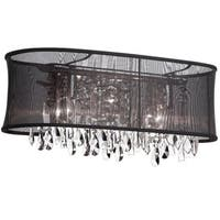 Dainolite 4-light Polished Chrome Vanity 26 Strands Clear Crystals with Oval Black Organza Shade