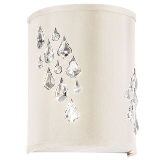 Dainolite 2-light Wall Sconce with Crystal Accents in Left Hand Facing in Polished Chrome in Ivory Baroness Fabric