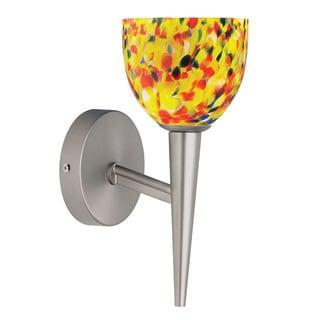 Dainolite Satin Chrome Wall Lamp Yellow Mosaic Glass