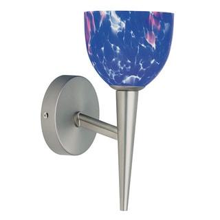 Dainolite Satin Chrome Wall Lamp Blue Mosaic Glass