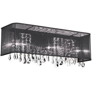 Dainolite 4-light Polished Chrome Vanity 26 Strands Clear Crystals with Rectangular Black Organza Shade