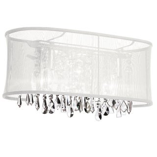 Dainolite 3-light Crystal Vanity in Polished Chrome in White Oval Organza Shade