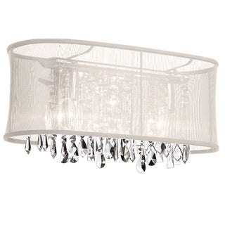 Dainolite 3-light Crystal Vanity in Polished Chrome in Oyster Oval Organza Shade
