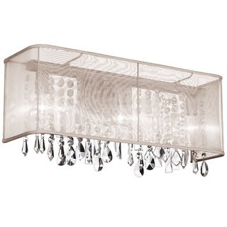 Dainolite 3-light Crystal Vanity in Polished Chrome in Oyster Organza Rectangular Shade