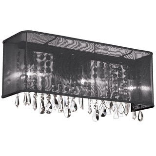 Dainolite 3-light Polished Chrome Clear Crystal Vanity 20 Strands with Rectangular Black Organza Shade