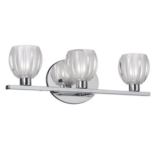 Dainolite 3-light Vanity Fixture in Polished Chrome with Clear Frosted Floral Glass