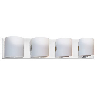 Dainolite 4-light Vanity Fixture in Polished Chrome with White Frosted Glass