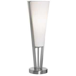 Dainolite Emotions Table Lamp in Satin Chrome with White Linen Shade