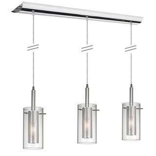 Dainolite 3-light Horizontal Pendant in Polished Chrome in Clear Glass /Steel Mesh