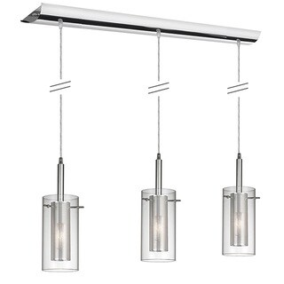 Dainolite 3-light Horizontal Pendant in Polished Chrome in Clear Glass /Steel Mesh - Chrome/Clear