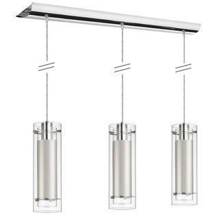Dainolite 3-light Polished Chrome Pendant Clear Frosted Glass with White Fabric Sleeve Silver Wire