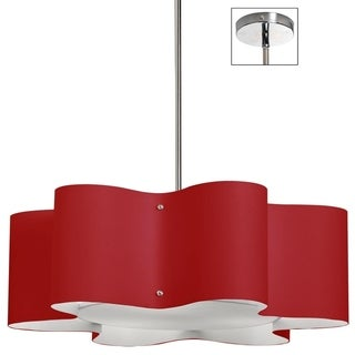 Dainolite 3-light Zulu Pendant with Red Shade in Polished Chrome Finish