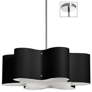 Dainolite 3-light Zulu Pendant with Black Shade in Polished Chrome Finish