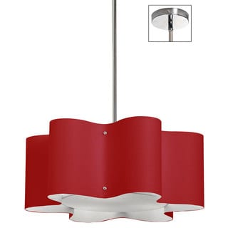 Dainolite 3-light Zulu Pendant with Red Shade in Polished Chrome Finish