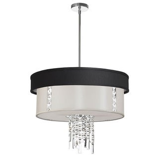 Dainolite 3-light Polished Chrome Crystal Pendant with Black/Silver & White Shade with 790 Diffuser