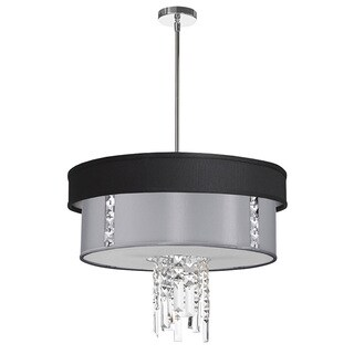 Dainolite 3-light Polished Chrome Crystal Pendant with Black/Silver & Steel Shade with 790 Diffuser