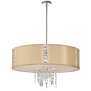 Dainolite 4-light Polished Chrome Pendant with Crystal Accents in Silk Glow Cream Drum Shade