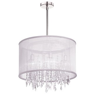 Dainolite 6-light Crystal Polished Chrome Chandelier in White Organza Drum Shade