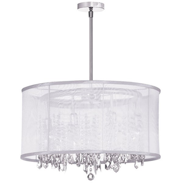 Dainolite 8 light crystal polished chrome chandelier in white dainolite 8 light crystal polished chrome chandelier in white organza drum shade aloadofball Choice Image