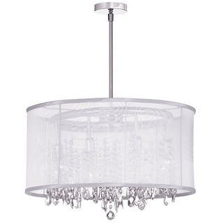 Dainolite 8-light Crystal Polished Chrome Chandelier in White Organza Drum Shade