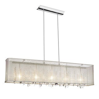 Dainolite 5-light Horizontal Crystal Polished Chrome Chandelier in Oyster Organza Rectangular Shade