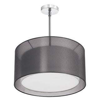 Dainolite 3-light Pendant Shade within a Shade in Satin Chrome Outside Shade Black Laminated Outside, Inside Shade White