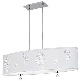 Dainolite 8-light Oval Polished Chrome Pendant with Crystal Accents in White Baroness Fabric