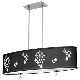 Dainolite 8-light Oval Polished Chrome Pendant with Crystal Accents in Black Baroness Fabric