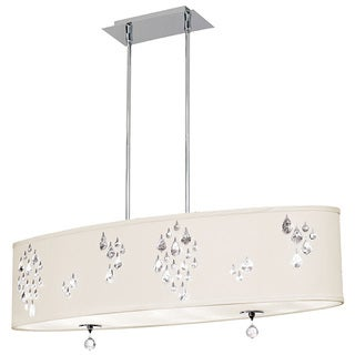 Dainolite 8-light Polished Chrome Pendant with Crystal Accents in Ivory Baroness Fabric