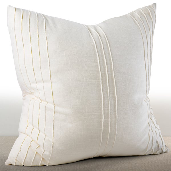 Chauran Avalon Ivory Cotton Ridge Stitched Euro Sham