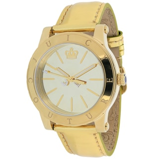 Juicy Couture Women's 1900835 HRH Round Goldtone Leather Strap Watch