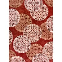 Cappella Floral Circles Red Area Rug - 5'3 x 7'7