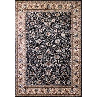Cappella Traditional Floral Anthracite Area Rug (5'3 x 7'7)