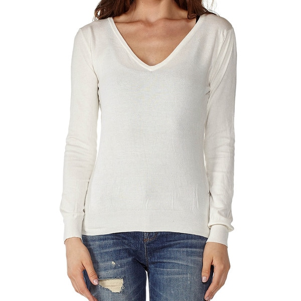 Dinamit Juniors' Cotton Long Sleeve V-Neck Sweater - Free Shipping ...