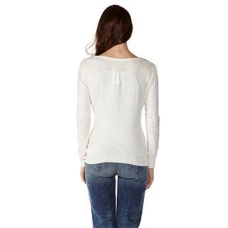 Dinamit Juniors' Cotton Long Sleeve V-Neck Sweater