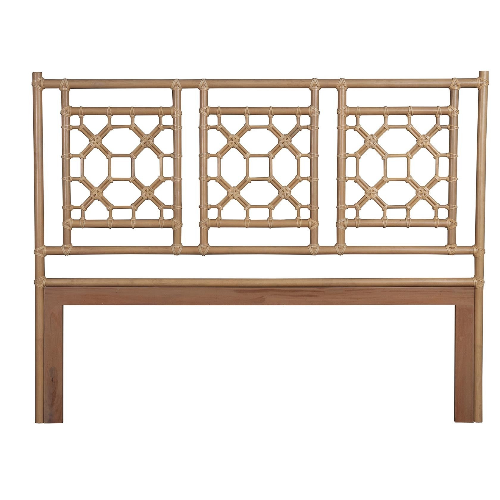 Crafted Home Granby Natural Modern Lattice King Headboard...