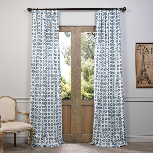 Exclusive fabrics ashby printed blue floral cotton curtain for Ashby windows