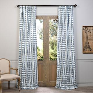 Exclusive Fabrics Ashby Printed Blue Floral Cotton Curtain Panel