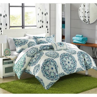 Chic Home Catalonia Medallion Reversible 8-piece Bed in a Bag with White Sheet Set