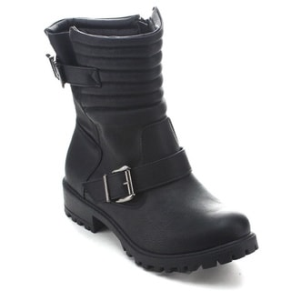 Betani Melanie-1 Women's Lug Sole Buckle Strap Motorcycle Mid Calf Boots
