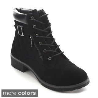Betani Tammy-1 Women's Lace Up Quilted Top Buckle Strap Hiking Ankle Booties