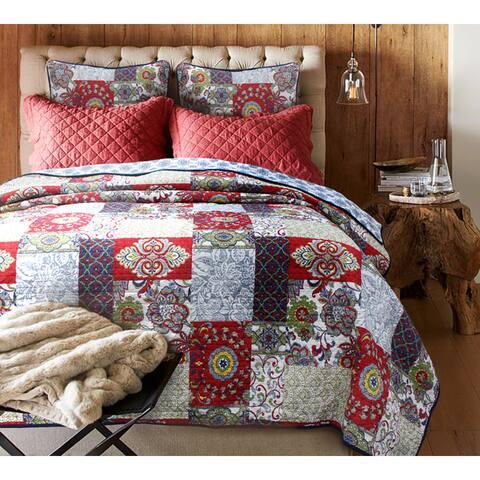 Copper Grove Angelina Vintage Cotton 3-piece Quilt Set